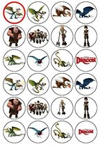 24 How to Train Your Dragon Edible Wafer Paper Cup Cake Toppers by CakeThat - $9.99