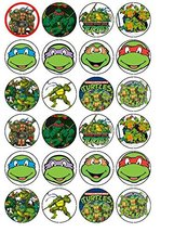 24 Teenage Mutant Ninja Turtles Edible Wafer Paper Cup Cake Toppers by C... - $9.99