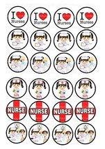 24 Cake Toppers 4cm On Icing - I love nurses, nurses appreciation day by... - $13.41 CAD