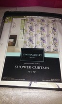 CYNTHIA ROWLEY WHITE PURPLE GREEN FLORAL FABRIC SHOWER CURTAIN NWT - $37.00