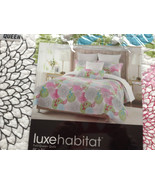LUXE HABITAT WHITE PINK GREEN FLORAL FULL/QUEEN QUILT W/ 2 STND PILLOW S... - $75.00