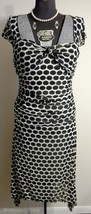 New $198 MAX STUDIO Off White Black Polka Dot Mesh Dress M - $99.99