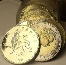 Cameo Proof Roll (20) Large Great Britain 1980 10 Pence Coins~Crowned Lion~Fr/Sh - $107.70