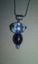 Handmade Opaque Floral Design Lampwork Blown Glass Pendant On Chain Neck... - $5.99