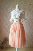 Blush Peach Bachelorette Long Tutu Tulle Skirt Pockets A Line Party Tulle Skirt image 4