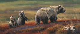 Autumn Outing by Edward Aldrich Grizzly Bears Wildlife SN LE Lithograph ... - $99.00