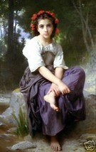 At The Edge Of The Brook by Wm. Bouguereau HET Giclee - $74.25
