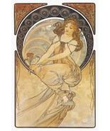 Painting by Alphonse Mucha Art Nouveau Lady On ... - $256.41