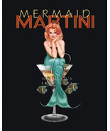 Mermaid Martini by Ralph Burch Sexy Pin Up Canvs Giclee - $173.25
