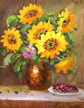 Golden Yellow Floral 20 x 24 original oil painting on canvas - $79.19