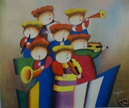 Seven Piece Band Original Oil Painting Music - $49.49