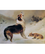 Found by Albrecht Schenck Collie Dog Lamb Animal 12x16 Open Edition Canv... - $113.85