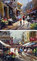 2 Street Scenes Original Oil Painting On Canvas - $165.33