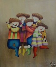 Five Piece Band Original Oil Painting On Canvas Musical - $49.49