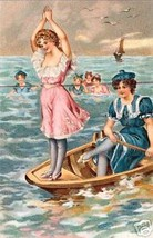 At The Beach Print, Two Gals Playing In A Row Boat - $14.84