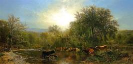 Cows Watering by James McDougal Hart 1865 Old Masters 5x10 Print - $19.79