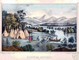 Western Scenery Indian Camp Vintage Landscape  Print - $14.84