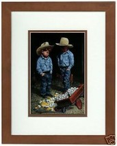 We're In Trouble Again By Don Crook Little Cowboys Matted Print Fits 8x1... - $44.54
