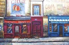 Antiquites Oil Painting Street Scene Paris Shops - $128.70