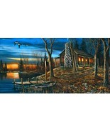 Complete Serenity by Jim Hansel Rustic Lake Cabin Boat Dock Geese  Canva... - $246.51