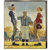 Coin Toss Referee Norman Rockwell Football Canv... - $187.11