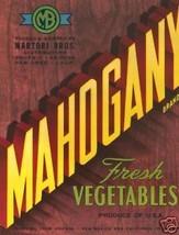 Vintage Crate Label, Mahogany Fresh Vegetables Print - $14.84