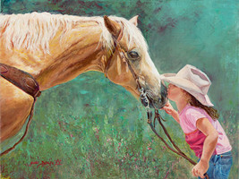 First Kiss by June Dudley Little Girl Horse Signed Open Edition 11x14 In... - $39.59