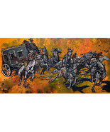 Stage Run by Cody Kuehl Western Horses Cowboy Art Stagecouch Signed Canv... - $395.01