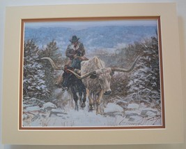Coming Through The Cold by Ragan Gennusa Longhorn Steer Tan 9x12 Double ... - $39.59