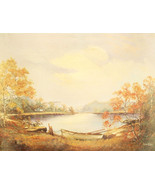 Rowboat by Robert Collins Landscape Lake Scene ... - $19.79