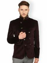 Men Burgundy Smoking Jacket Designer Jodhpuri Elegant Party Wear Coat Bl... - $178.76