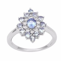 0.30 Ct Oval Genuine Tanzanite Gemstone 925 Sterling Silver Ring Sz 7 SH... - $23.24