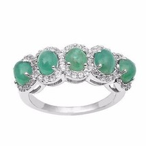 5 Emerald Gemstone Ring Solid 925 Sterling Silver Jewelry Ring Sz 7 SHRI0979 - $65.18