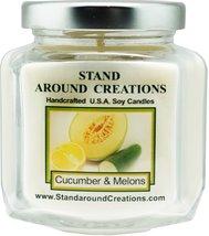 Premium 100% Soy Wax Candle - 6 - oz. Hex Jar- Cucumber & Melons: A frui... - $12.99