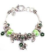 Irish Charm Bracelet BE Green Murano Beads Crys... - $24.63