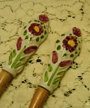 Vintage SALAD UTENSILS // Wood Fork Spoon // CERAMIC Hand Painted FLOWERS  - $11.50