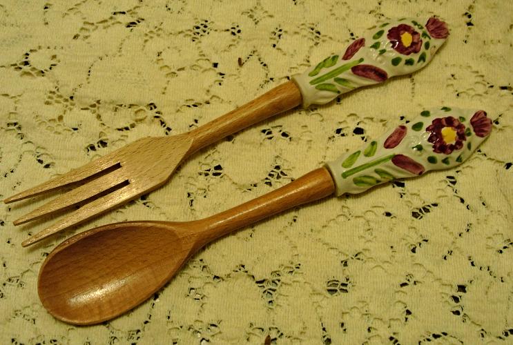 Vintage SALAD UTENSILS // Wood Fork Spoon // CERAMIC Hand Painted FLOWERS