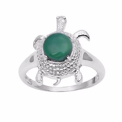 Special Tortoise Ring with Green Onyx Gemstone 925 Sterling Ring Sz 8 SHRI0984