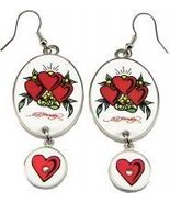 Ed Hardy Three Hearts Drop Clear Crystals Earrings - $30.00