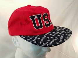 Vtg 1995 USA Seaworld Snapback Hat Cap Adjustable Red White Blue Free Sh... - $19.31