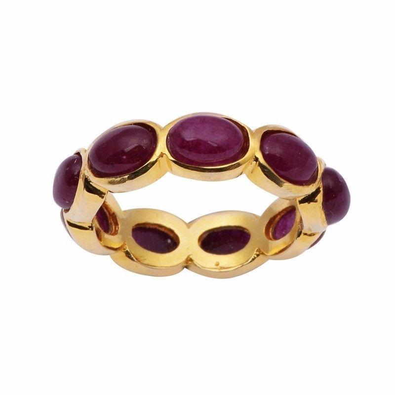Yellow Rhodium 925 Sterling Garnet Gemstone Silver Band Ring Sz 9 SHRI0969