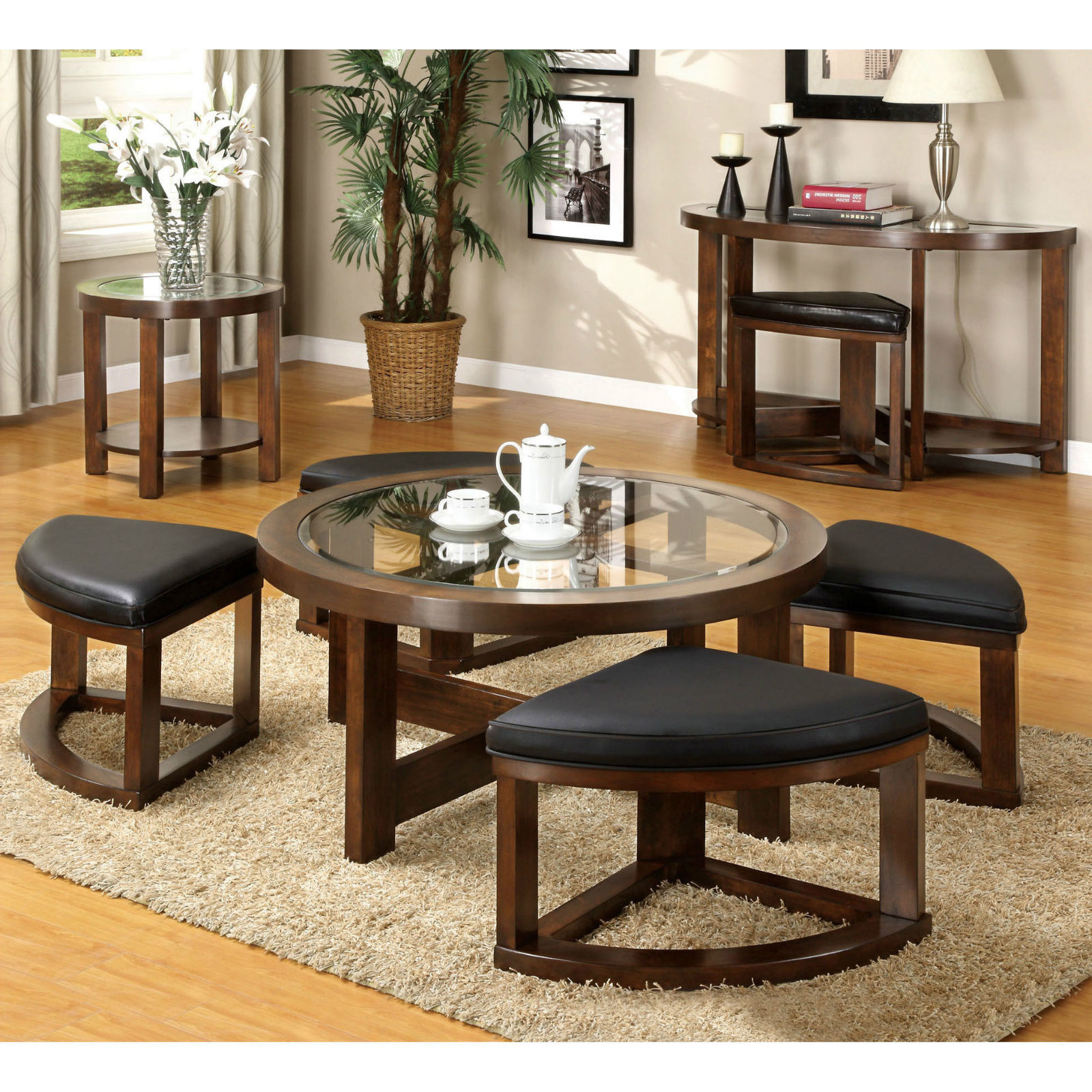 Coffee Table Round Wood Glass Top Wedge Stools 5 Piece Dinette Seating For 4 New Tables