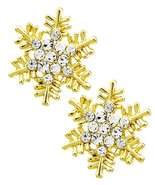 Crystal Snowflake Earrings BZ Clear Gold Tone Posts - $16.71