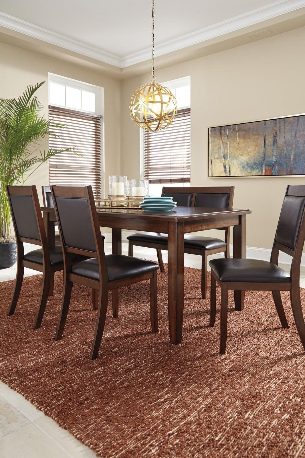 Ashley Meredy D395 Dining Room Set 6pcs In Brown Casual