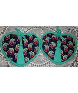 Heart Shaped Pocket Potholder Mitt 2 CHERRY DRO... - $7.95