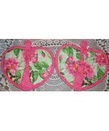 Heart Shaped Pocket Potholder Mitt 2 PINK ROSES PRINT No More Burnt Finger - $7.95