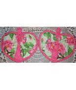 Heart Shaped Pocket Potholder Mitt 2 PINK ROSES... - $7.95
