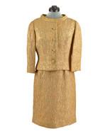 Vintage Custom Made Edith Meiser Gold Cocktail Dress Suit Set Jacket & Belt - $189.99