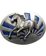 Blue Enameled Running Horse Buckle - $17.00