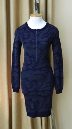 Julien David Dress Runway 2015 Half Zip Knit Jacquard Navy Charcoal NWT $595 S